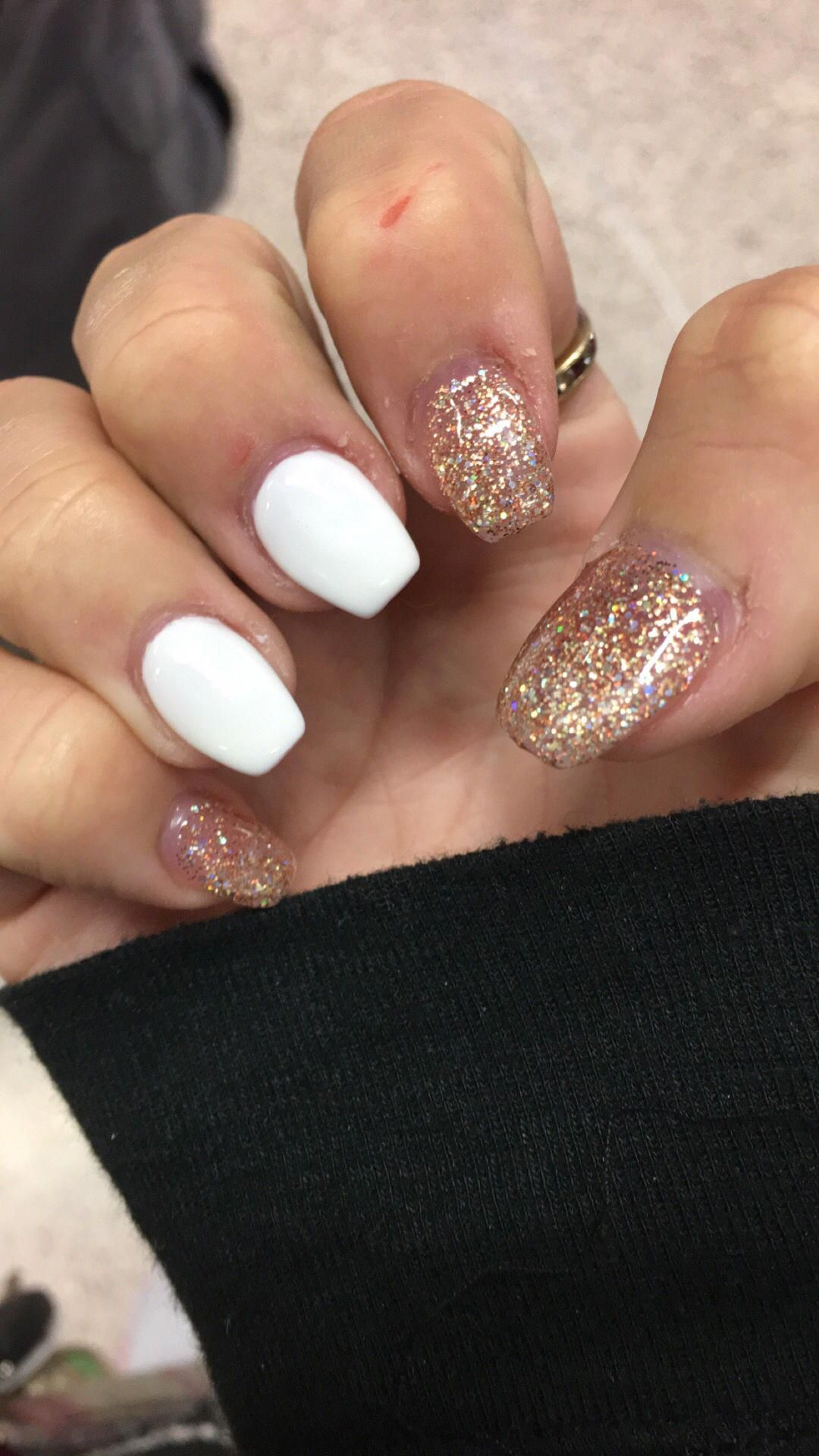 Short Coffin Nails With Glitter Gel Polish And White Acrylicnailartdesignsshort Glitter Gel Polish Short Coffin Nails Glitter Gel Nails