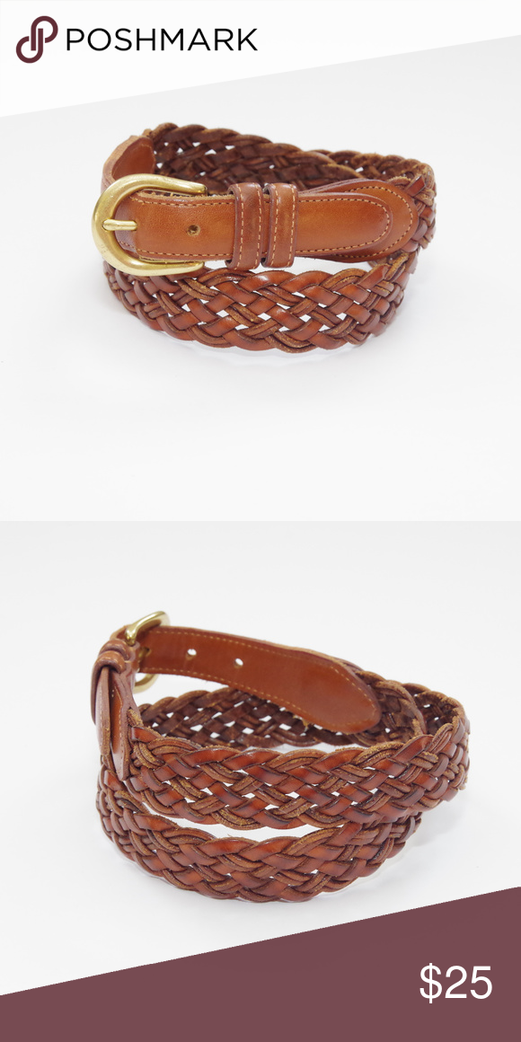 Coach Braided British Tan Woven Leather Belt Gorgeous Genuine Woven