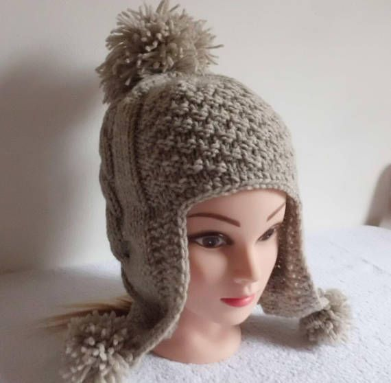 b10e4832906 Oatmeal Cable Knit Cat Ear Flap Pom Pom Hat