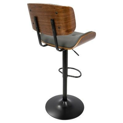 Strange Lombardi Mid Century Modern Adjustable Barstool Walnut Gmtry Best Dining Table And Chair Ideas Images Gmtryco
