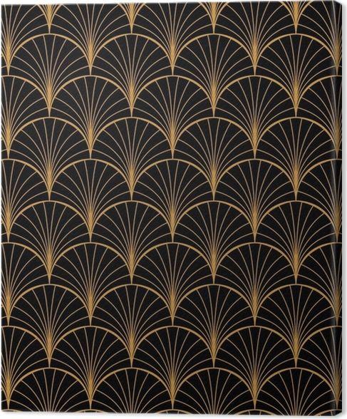 Photo of Leinwandbild Vektor floral Jugendstil nahtlose Muster. geometrische dekorative Blätter Textur. Retro stilvollen Hintergrund. • Pixers® – Wir leben, um zu verändern
