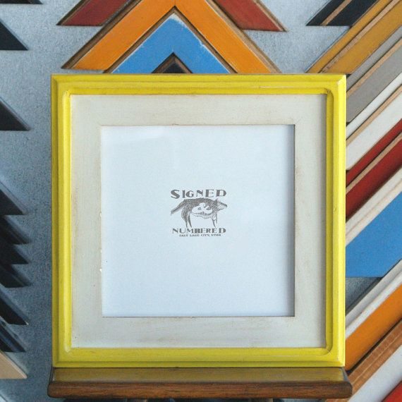 10x10 Square Picture Frame In Vintage White Finish With Vintage Yellow Double Cove Build Up Picture Frames Frame White Vintage