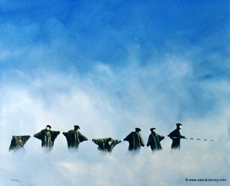 """CARNEVALE DELLE SETTIME SIGILLO"" - oil on canvas,by Pascal Lecocq, The Painter of Blue ®,46 x 55cm, 18""x22"", lec260, 1991, priv.coll.France. ©www.pascal-lecocq.com."