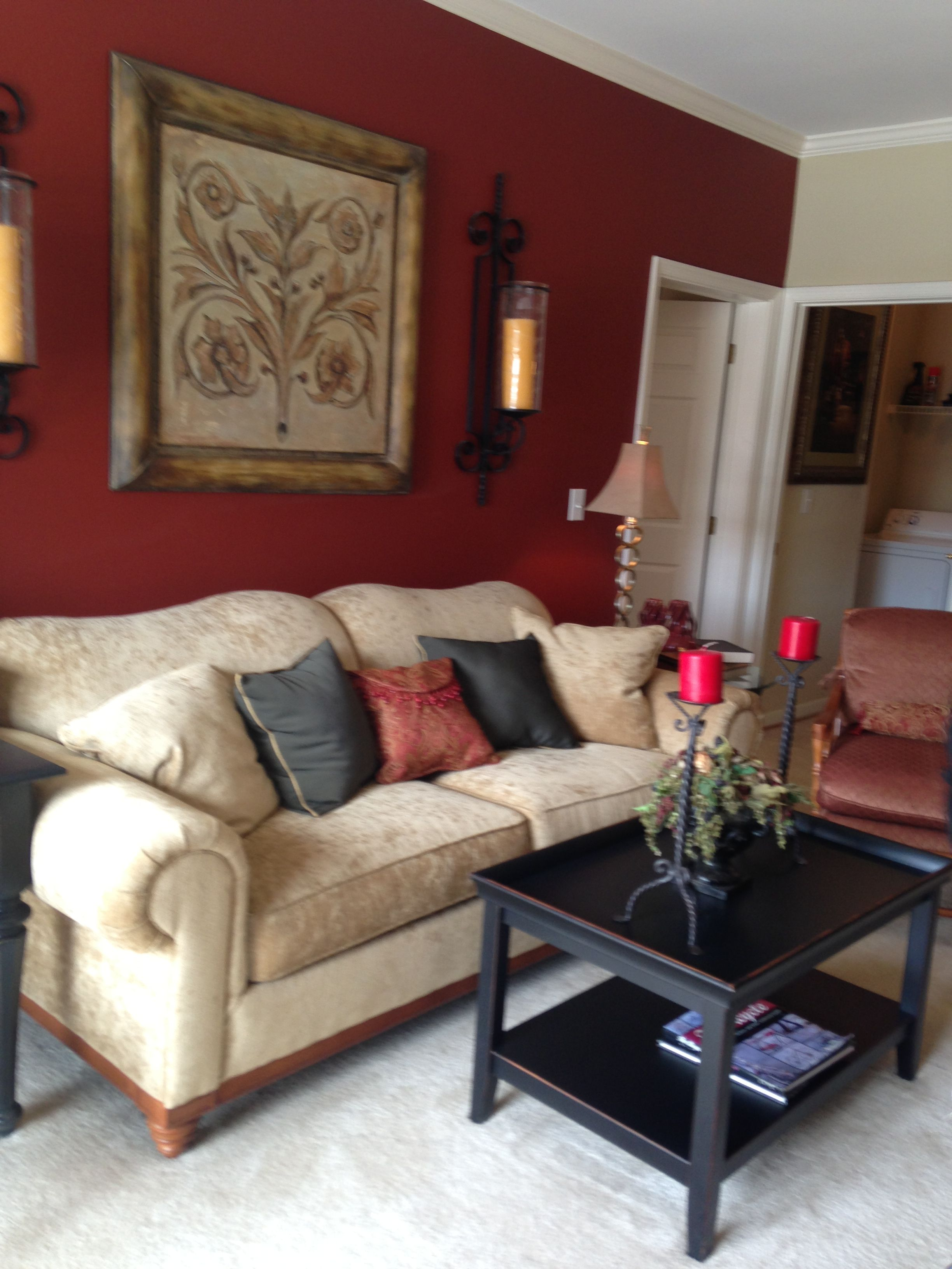 Deep Red Accent Wall, Gold Accents And Dark Furniture. Love The Wall  Sconces Also.   Match Red To My Drapery Fabric