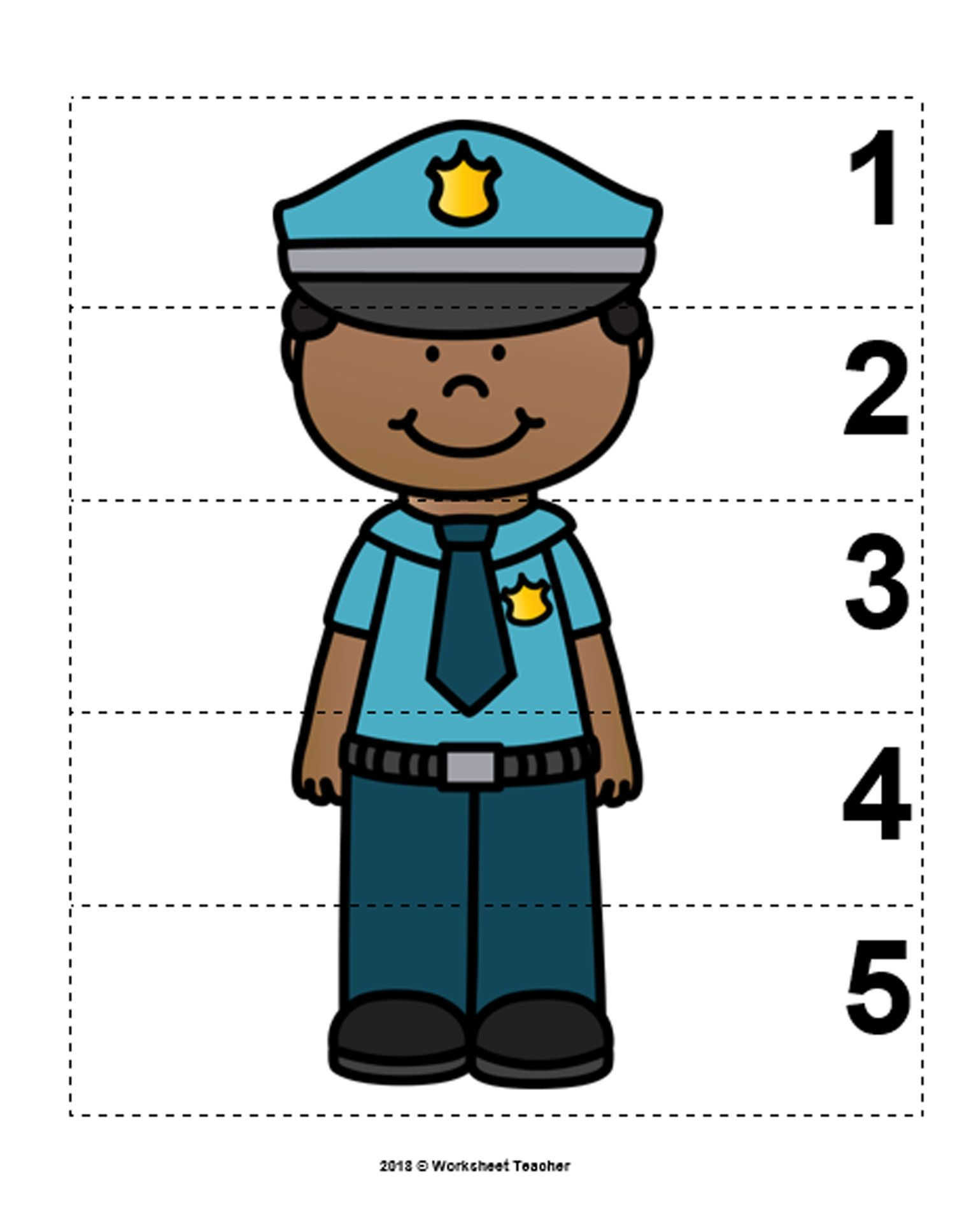 10 Community Helpers Number Sequence 1 5 Preschool Math