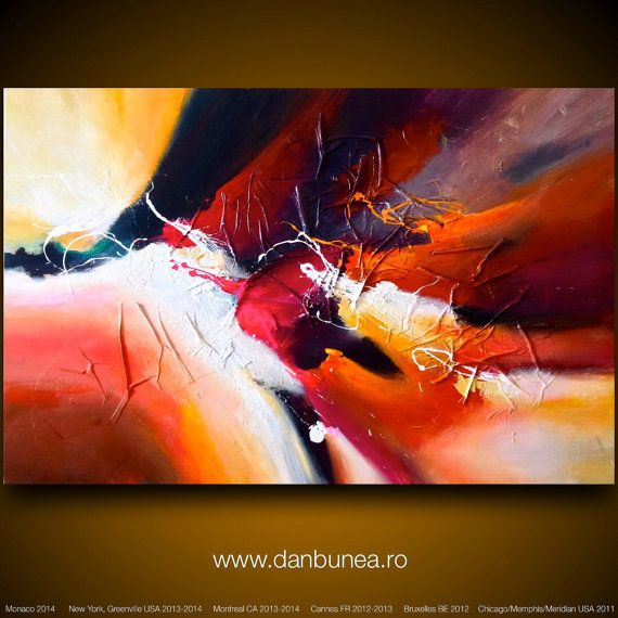 """Very large abstract painting by Dan Bunea: """"Follow your heart"""", 150x100cm or 60x40in, acrylics on canvas, for sale on Etsy, 1.000,00$"""