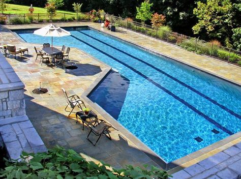 I Like The Fact That There Is A Deep End And A Shallow End And They Re Seperated By A Dry Viewing A Lap Pools Backyard Swimming Pools Backyard Lap Pool Designs