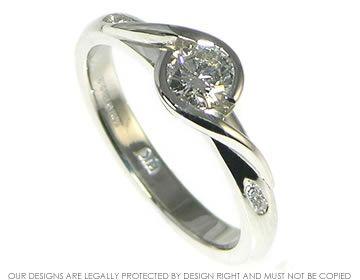 Platinum And Diamond Engagement Ring Flat Setting Wedding Bells