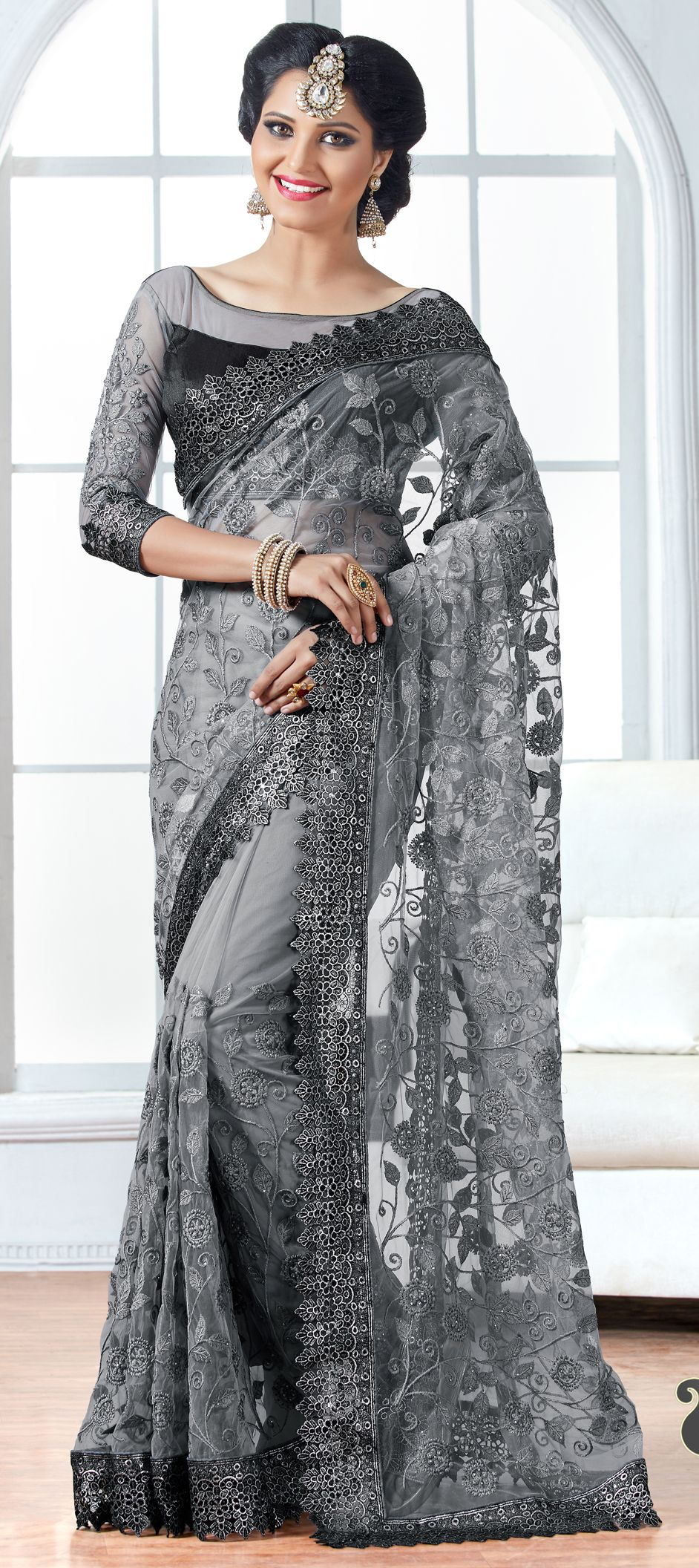 8b6e4512f50495 722203: Black and Grey color family Embroidered Sarees, Party Wear Sarees  with matching unstitched blouse.