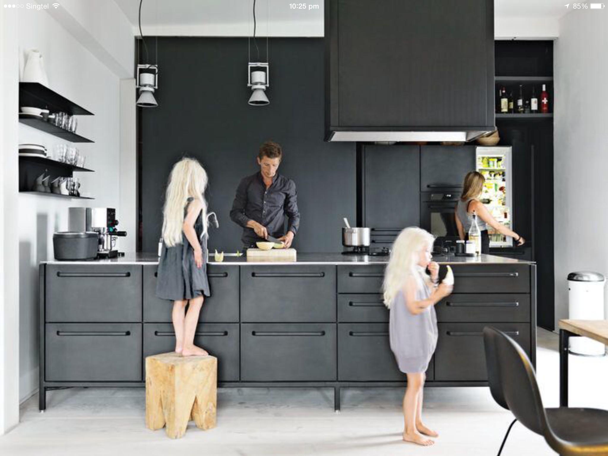 Black Themed Kitchen Black Kitchens Home Modern Kitchen Counters