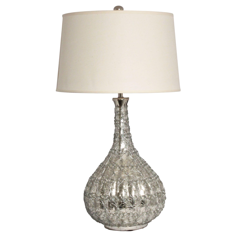 Casa Cortes Donna Intricate Wire 29 Inch Mercury Glass Tablle Lamp (Mercury  Glass), Silver