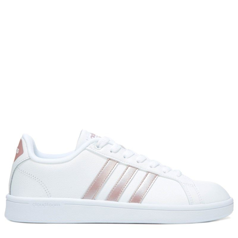 the latest f188e 93c4f Adidas Women s Cloudfoam Advantage Stripe Sneakers (White Rosegold)