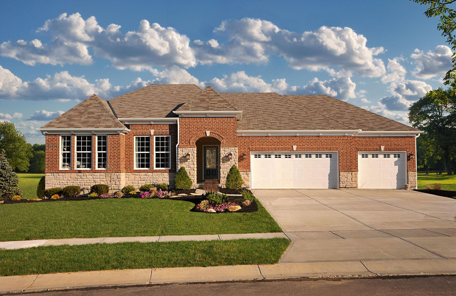 The Hartwell A Exterior With 3 Car Front Entry Garage Drees Homes Cincinnati And Northern Kentucky