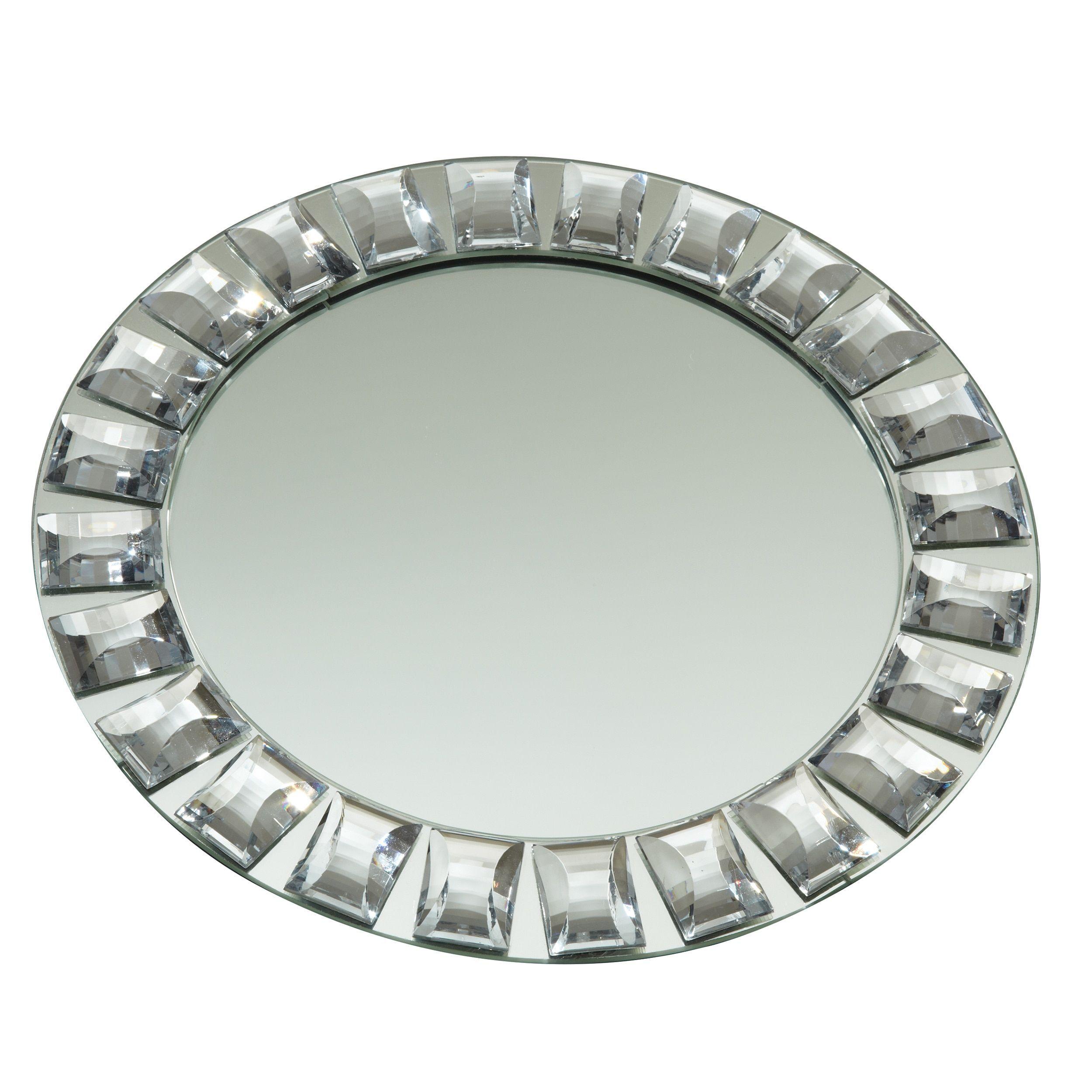 Elegance Diamond Rim Mirror Charger Plate, 13 dia. (Silver) (Metal ...