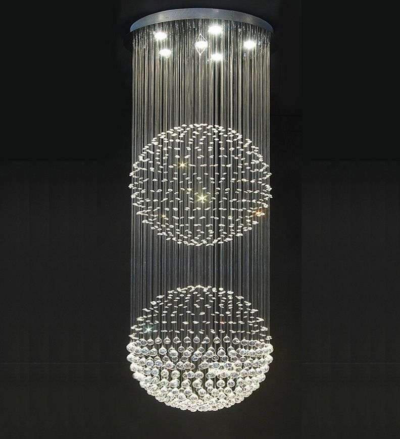 Double Floating Crystal Ball Chandelier Stairwell