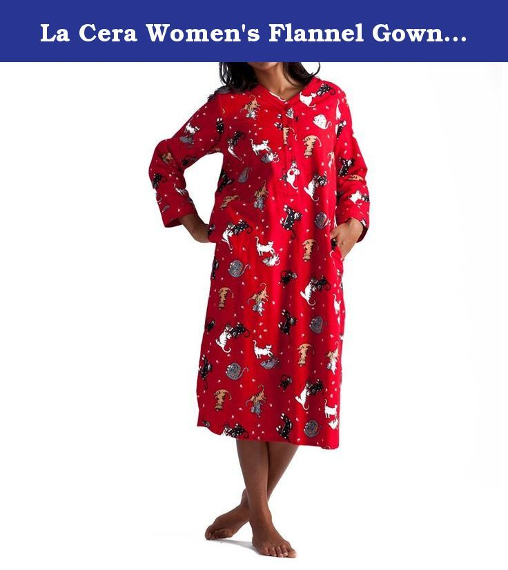 La Cera Women\'s Flannel Gown Small Red Cat. La Cera created these ...