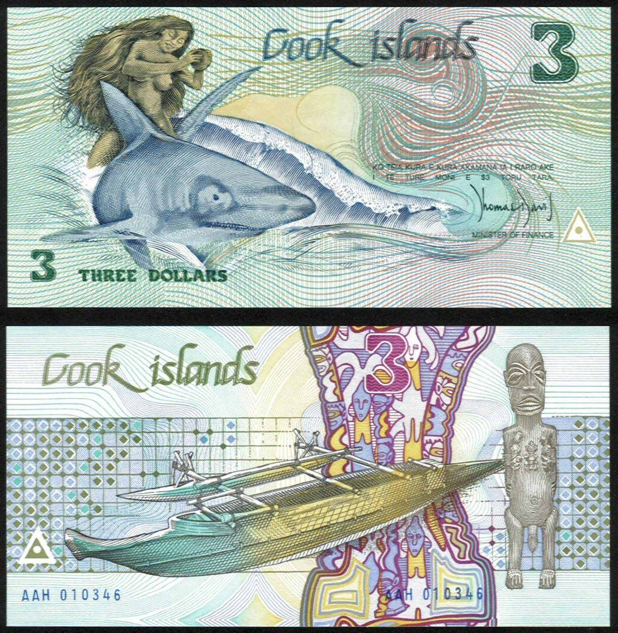 Cook Island P 3 3 Dollars Year Nd Banknote Unc