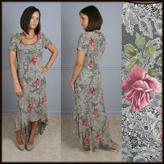 Vintage 1980s Fishtail Dress Lace and Rose by ForeverAfterVintage, $24.98
