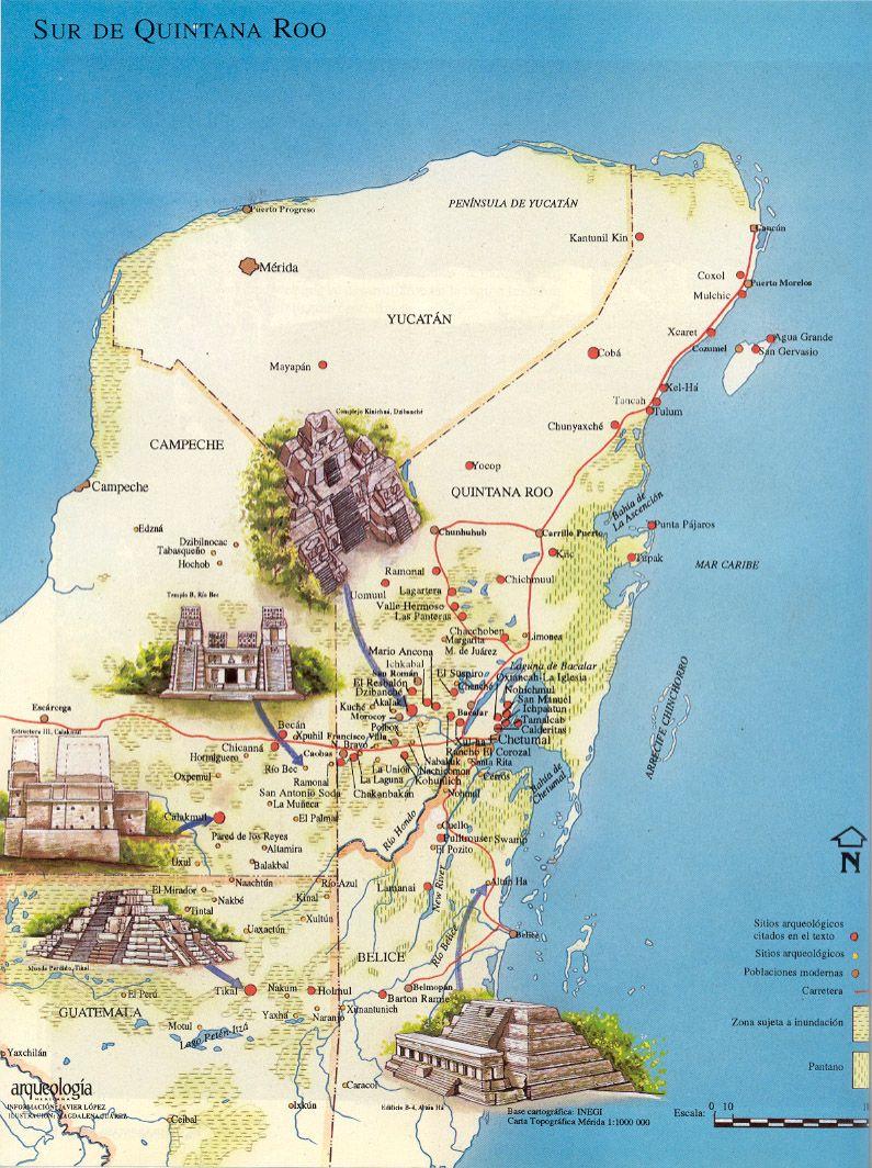 Cancun Quintana Roo Mexico Map.Sur De Quintana Roo Map Where I Go In 2019 Coba Mexico