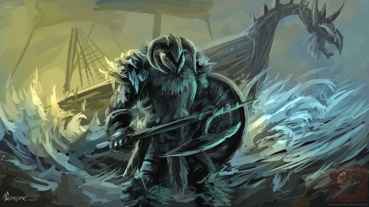 A viking warrior in combat with werewolf. Description from ...