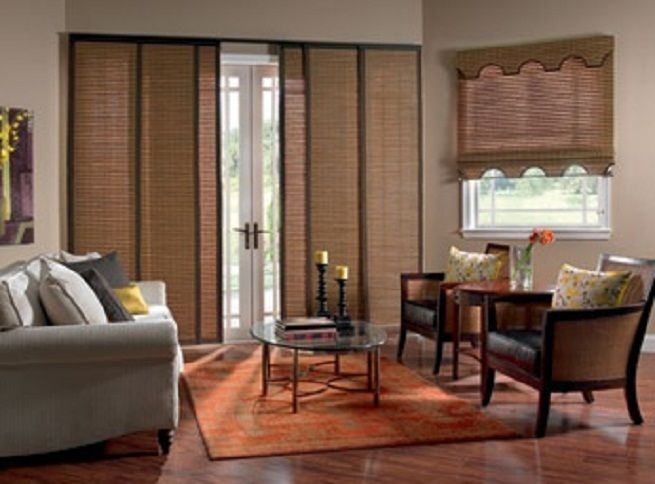 Patio door window covering idead on pinterest window for Window treatment ideas