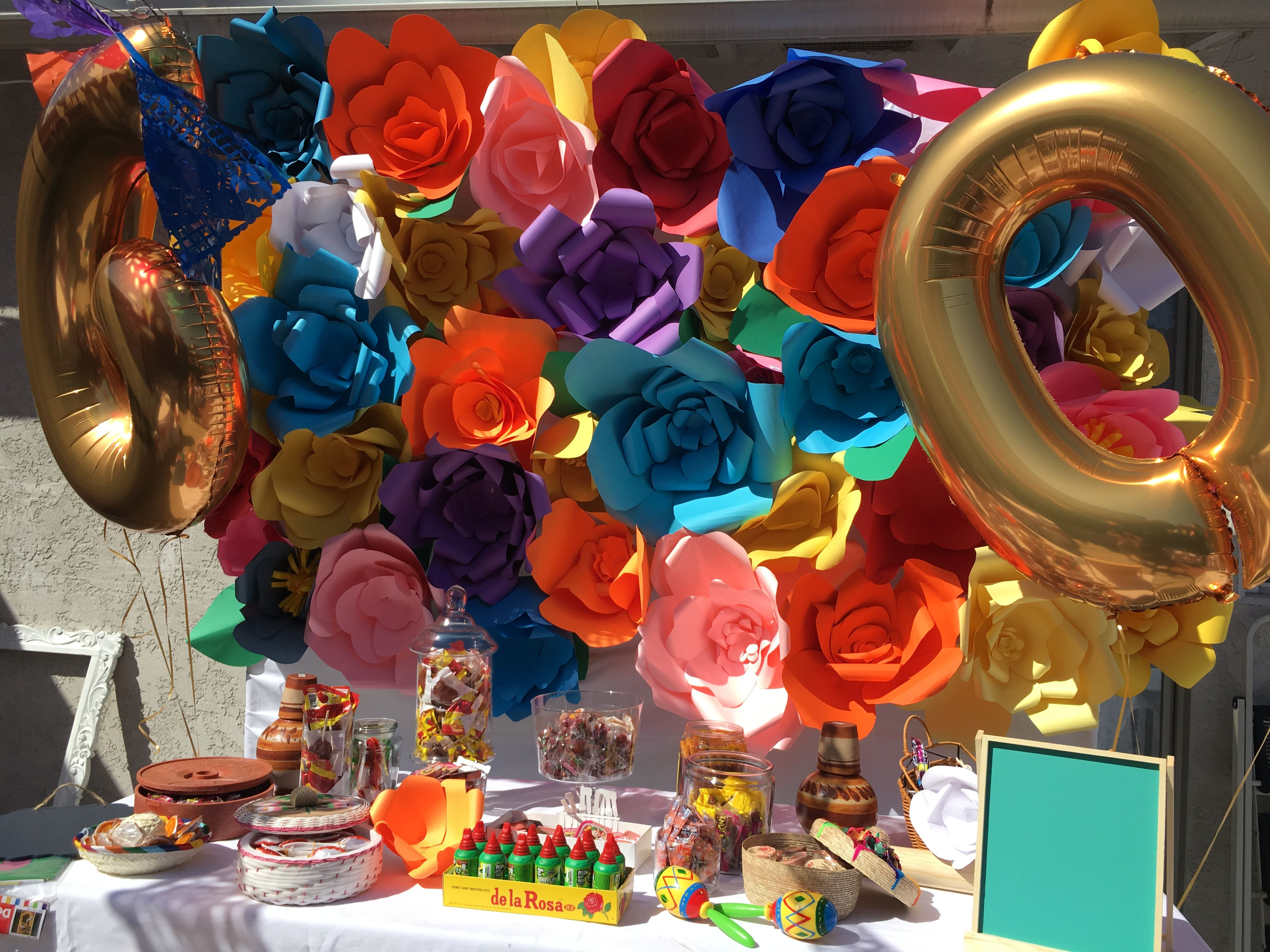 Fiesta table decorations ideas - Paper Flower Backdrops For Birthday Wedding Babyshower Celebration Candy Table Decoration Mexican Theme Fiesta Party