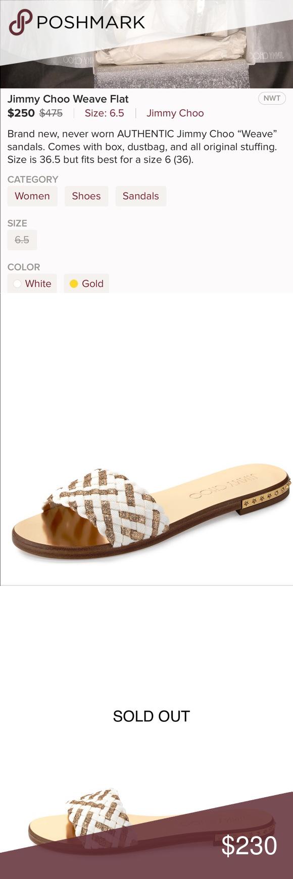 30d442789ece Jimmy Choo Weave Sandal Size 7 Authentic Jimmy Choo Weave Studded Slide  Sandal Size 7. Authentic. Latte Gold. Worn once