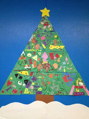 Class Christmas Tree Each Child Gets An Equilateral Triangle To Decorate Assemble Into One Tree Christmas Classroom Christmas Kindergarten Christmas Art