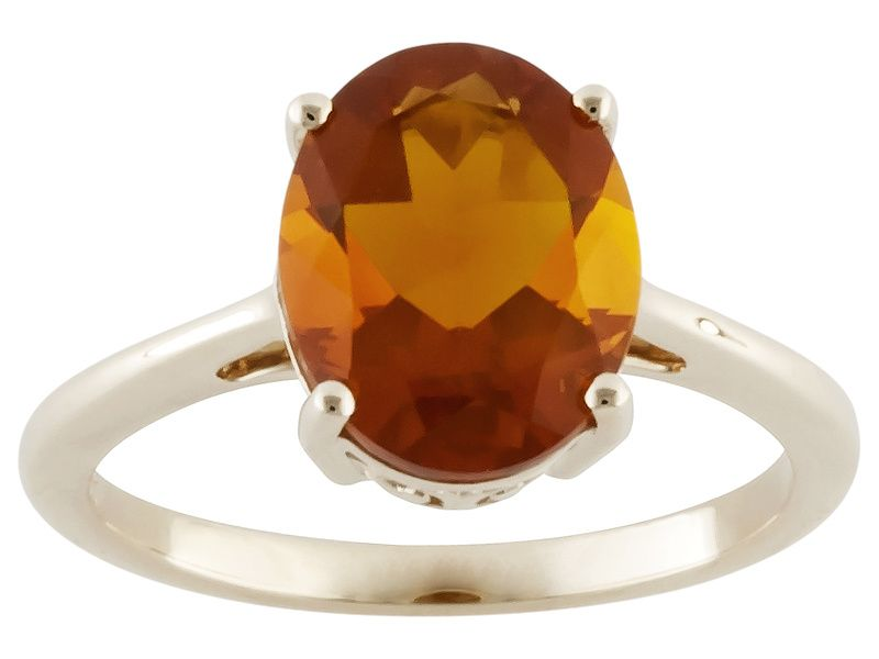 """1.72ct Oval American Fire Opal 10k Yellow Gold Solitaire Ring. 1. 72ct oval American fire opal 10k yellow gold solitaire ring. Measures approximately 3/8""""L x 1/16""""W. JTV.COM"""