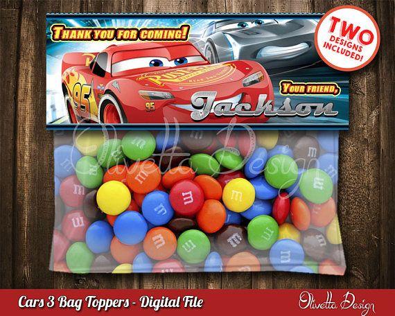 Disney Cars Printable Cars Birthday Cars 3 Ziptop Topper Cars Party Favor Cars New Movie Disney Cars 3 Treat Bag Topper Chalkboard