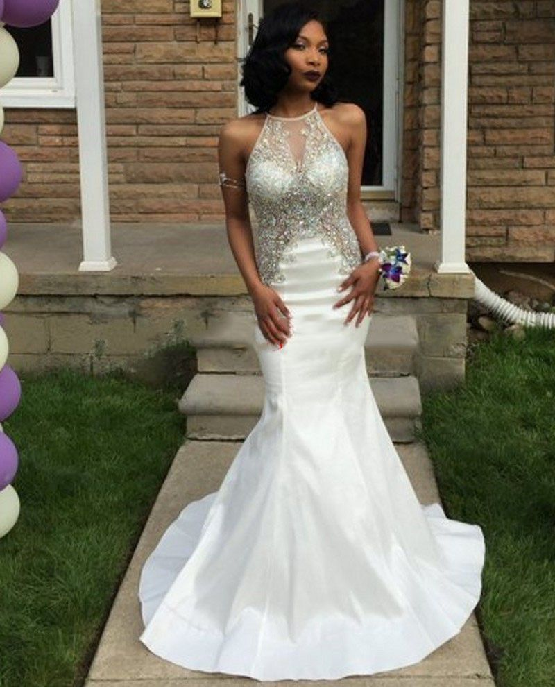 White mermaid prom dresses oneck sleevless beaded with