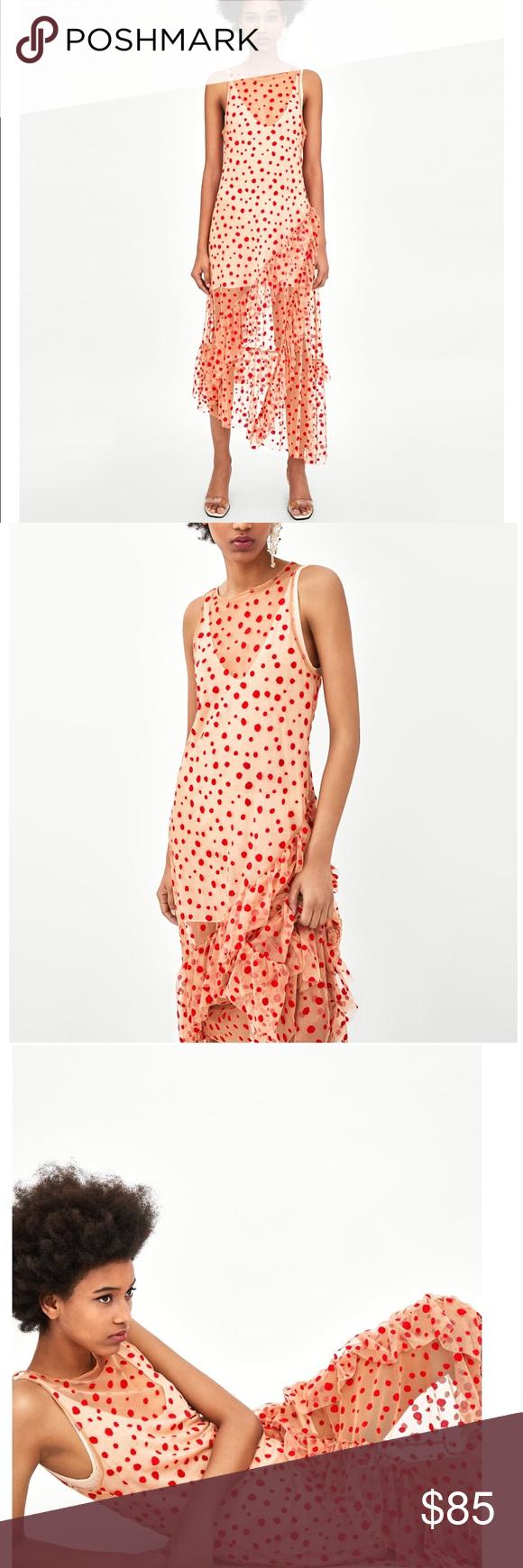 f9294979 GORGEOUS NWT ZARA Semi Sheer Polka Dot Dress New with tags. Slip under dress  not included. Bloggers favorite! Zara Dresses Midi