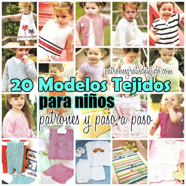 20 diagramas moldes y patrones de prendas de niños para tejer ...