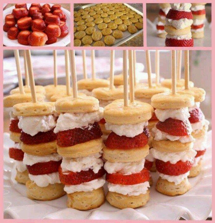 Mini strawberry shortcakes on a stick! Yes!