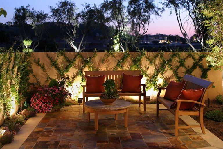 Small Backyard With Light Rustic Garden Lighting Garden Lighting Design Best Outdoor Lighting
