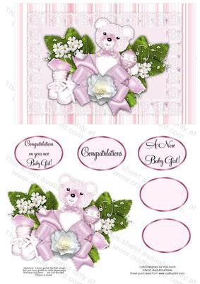 New Baby Girl  on Craftsuprint designed by Vicki Avcin - Beautiful card for a New Baby or could even be used for a christening. Easy and quick to make using your choice of card stockas a base and then embellish with your choice of items. Made using my Designer Resource cup389346_543 - Now available for download!