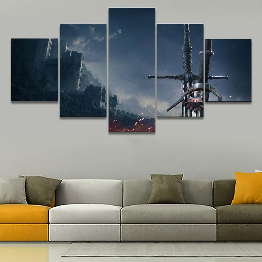 pieces large wall art home decor game the witcher wild us