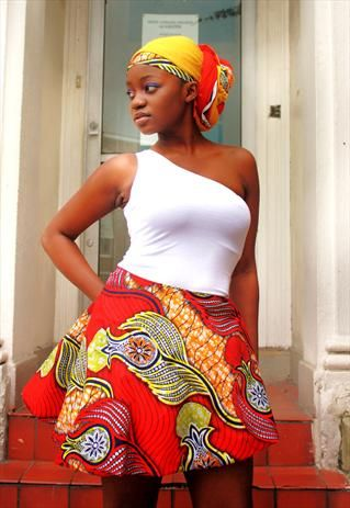 iconicity red african print skirt