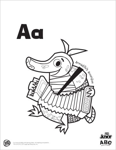 Leapfrog Alphabet Coloring Pages. LeapFrog Printable  ABC Animal Orchestra Color Cat s congas and decorate Dingo didgeridoo while exploring the ABCs From armadillo accordion to zebra zither Leap Frog animal