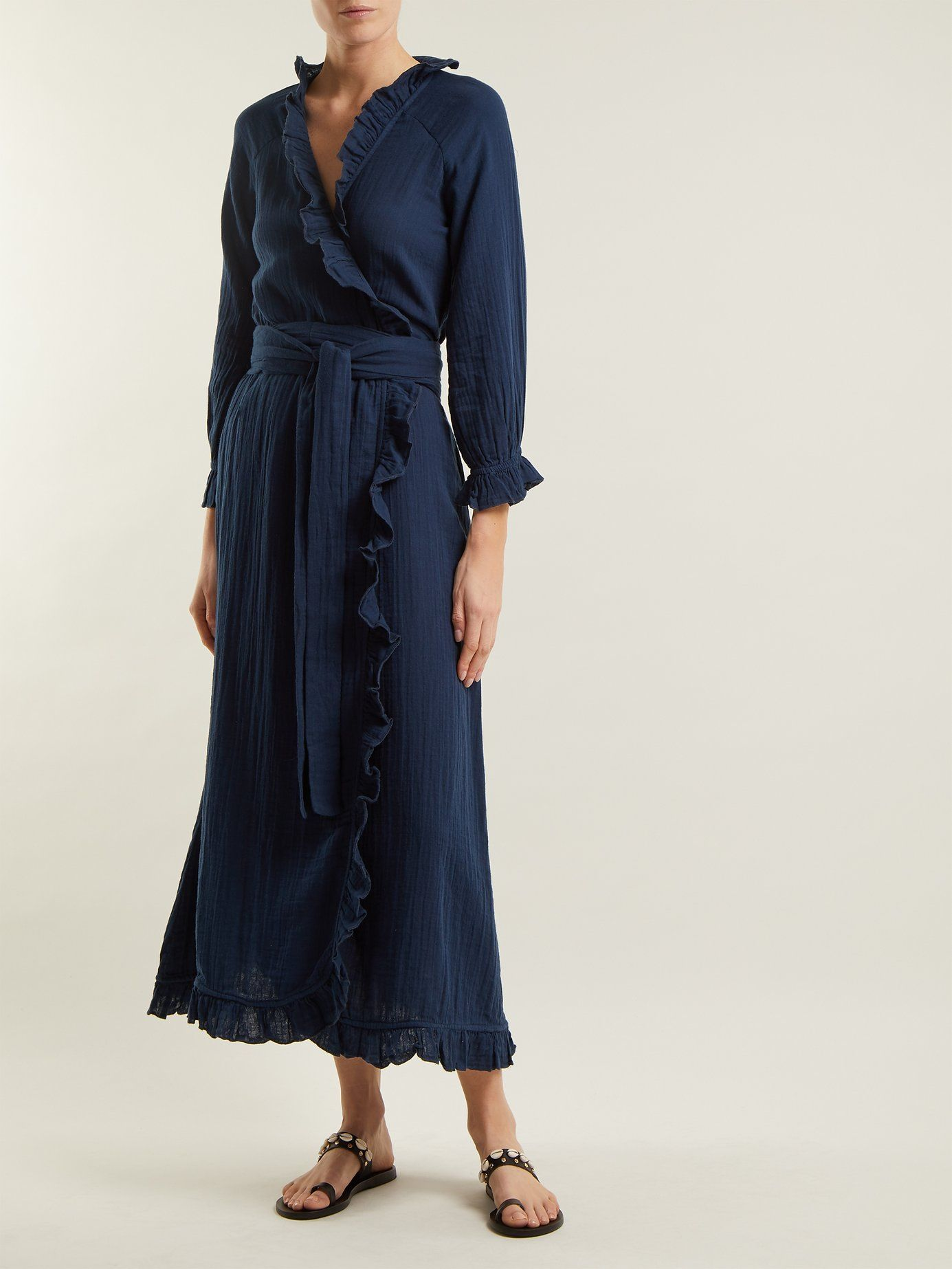 77b2dd252db4 RHODE RESORT Jagger Ruffle-Trimmed Cotton Wrap Navy Blue Dress in ...