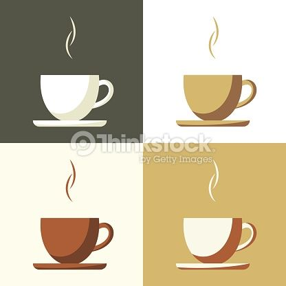 Coffee Cup Set Icon Flat Simple Vector Coffee Cup Design