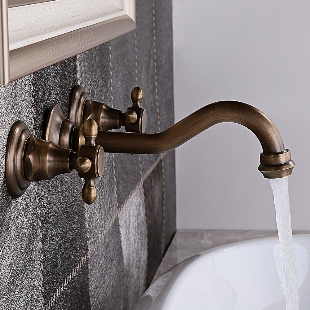 Chester Classic Wall Mount 2 Handle Antique Brass Bathroom Basin Tap With Cross Handles In 2020 Bathroom Basin Taps Sink Faucets Brass Bathroom
