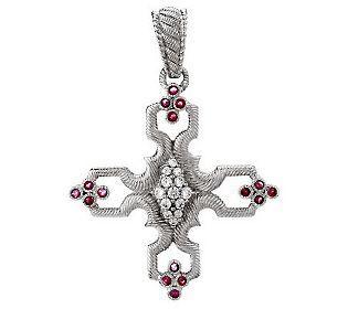 Judith Ripka Sterling & Gemstone Cross Enhancerw/ Diamonique - QVC.com