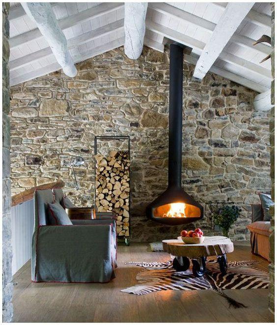35++ Salones con pared de piedra ideas