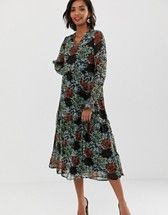 6daf99257b94 Y.A.S retro floral midi dress in 2019 | clothes i like, jewelry too ...
