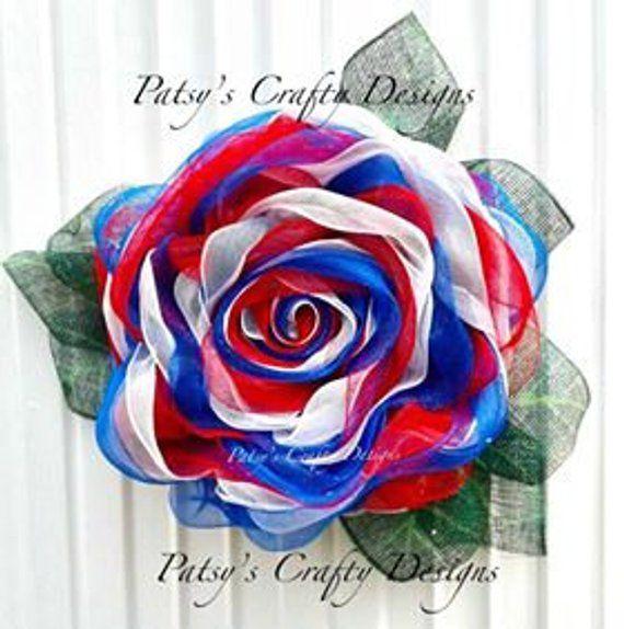 Photo of Patriotic Flower Wreath Tutorial, Patriotic Deco Mesh Flower Wreath Tutorial, Patriotic Wreath, Patriotic Flower, Multi Rose Mesh Flower