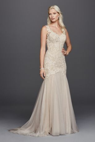 93d7abe9499d Petite Beaded Venice Scalloped Lace Wedding Dress Style 7SWG723 ...