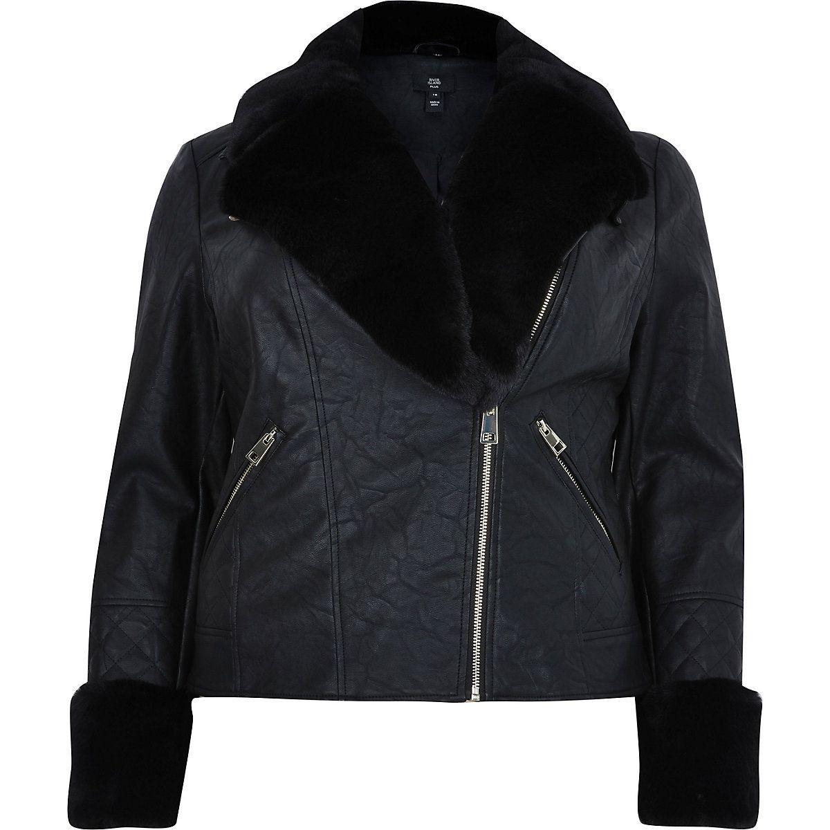Plus black faux fur quilted biker jacket Faux fur biker