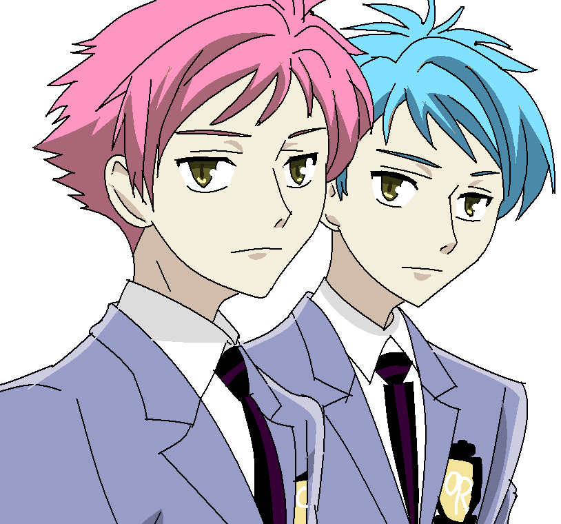 Hitachiin Twins With Pink and Blue Hair by MadamSpears | Ouran High