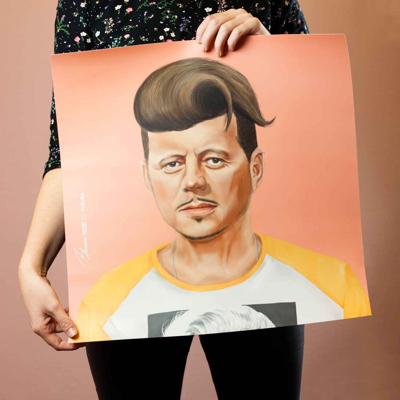 Fisura john f kennedy poster male sketch portrait